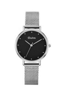 Relógio Feminino Oulm Ht3671 Analógico - Prata E Preto