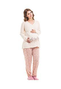 Pijama Longo Gestante Estampado - Luna Cuore 7710