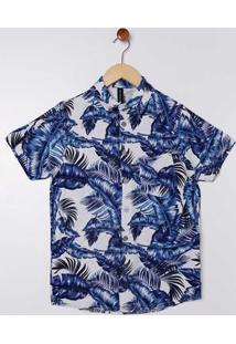 Camisa Manga Curta Folhas Juvenil Para Menino - Cinza/Azul