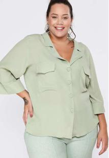 Camisa Almaria Plus Size Pianeta Viscose Verde