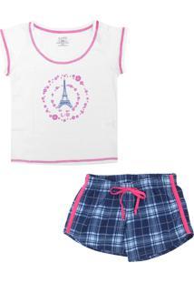986741c9220204 Pijama Lupo Curto Menina Branco/Azul