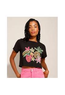 Camiseta Cropped De Algodão Frutas E Flores Manga Curta Decote Redondo Preta