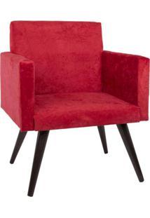 Kit 2 Poltronas Decorativa Suede Pã©S Palito Vermelha Mobile - Vermelho - Dafiti