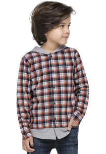 Camisa Xadrez Flanelada Laranja