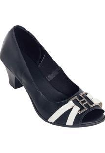 Sapato Peep Toe Bicolor Preto E Branco