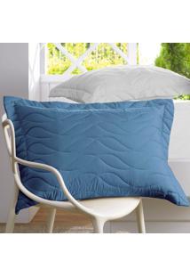 Porta Travesseiro All Design Azul Provincial - 50Cm X 70Cm Estampado
