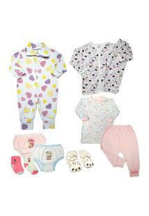 Kit Roupinha De Bebê 10 Peças Mini Enxoval E Acessórios Bebê Rosa