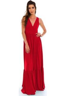 Vestido Longo Jogabe - Feminino-Vermelho