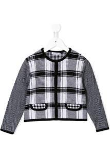 Dolce & Gabbana Kids Jaqueta Slim De Tricô Com Padronagem Pide-De-Poule - Preto
