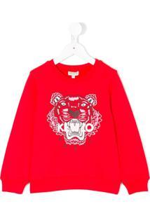 Kenzo Kids Blusa De Moletom 'Tiger' - Vermelho