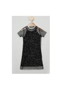 Vestido Infantil Estampado Estrelas Com Sobreposição Em Tule Manga Curta Preto