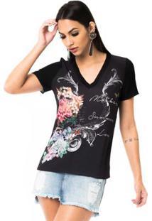 c6f6617d18 T-Shirt Moikana Gola V De Tricô Feminina - Feminino-Preto