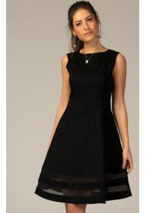 Vestido Evasê Com Transparência Preto