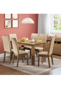 Conjunto Sala De Jantar Sara Madesa Mesa Tampo De Madeira Com 6 Cadeiras Marrom - Tricae