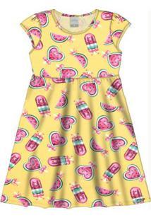 Vestido Com Mascará Meia Malha Amarelo