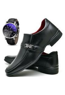 Sapato Social Fashion Com Relógio Dubuy 827El Preto