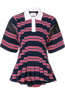 Koché Camisa Polo Listrada Com Peplum Na Barra - Azul efb3b0b120136