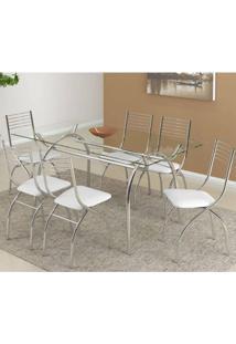 Conjunto De Mesa Carraro 379 + 6 Cadeiras 146 - Cromado / Napa Branco