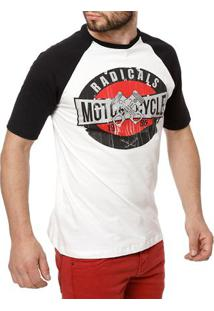 Camiseta Manga Curta Masculina Bege/Preto