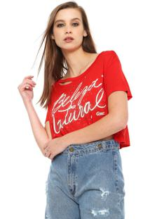 Camiseta Cropped Coca-Cola Jeans Lettering Vermelha
