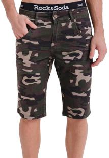 Bermuda Rock&Soda Masculina Militar Sarja Com Bolsos Casual Verde Militar 38