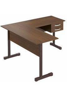 Mesa Para Computador Em L Com 2 Gavetas Pop Castanho - Plata Móveis