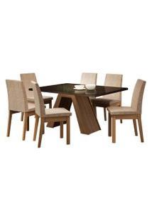 Sala De Jantar Madesa Pietra Mesa Tampo De Vidro Com 6 Cadeiras Preta/Bege