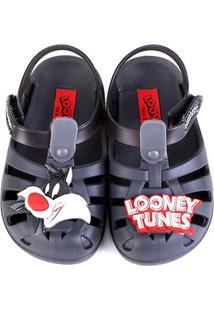 Sandália Infantil Grendene Kids Looney Tunes Folks Baby - Masculino-Cinza+Branco