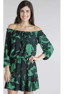Vestido Ombro A Ombro Estampado De Folhagem Verde