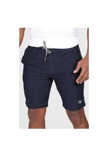 Bermuda Calvin Klein Jeans Chino Amarração Azul-Marinho