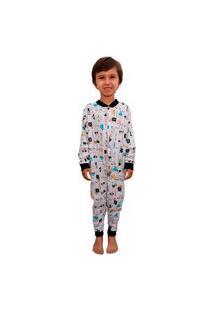 Pijama Infantil Macacão Carrinho Menino 100% Algodão 10 Ao16 Branco