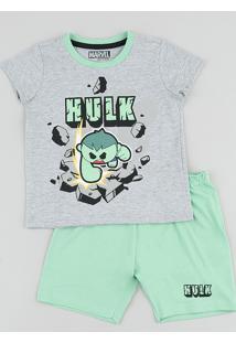 Pijama Infantil Hulk Manga Curta Cinza Mescla