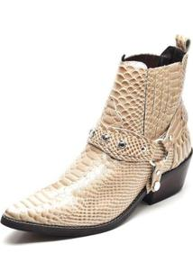 Bota Couro Country Top Franca Shoes Masculino - Masculino-Bege