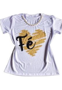 Camiseta Pérola Fé Feminina - Feminino-Branco