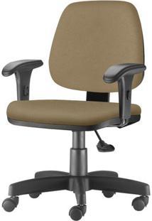 Cadeira Job Com Bracos Curvados Assento Fixo Courino Marrom Claro Base Rodizio Metalico Preto - 54634 Sun House