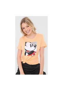 Camiseta Cativa Disney Mickey Paetê Laranja