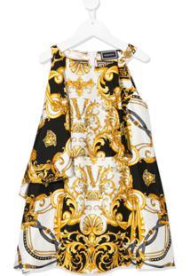 Young Versace Vestido Midi Com Estampa Barroca - Branco