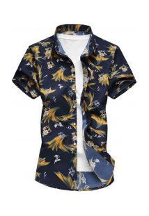 Camisa Masculina Design Havaiano - Amarelo