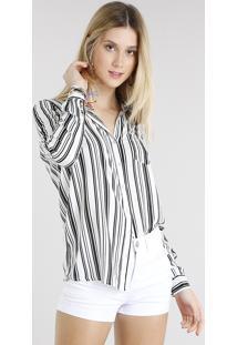Camisa Feminina Listrada Com Bolso Manga Longa Off White 96406960de