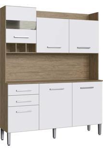 Armario Kit Cozinha 6 Portas E 2 Gaveta Wood/Branco Decibal Moveis