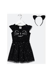 Vestido Infantil Estampa Gatinho Com Tiara -Tam 1 A 5 Anos | Póim (1 A 5 Anos) | Preto | 04