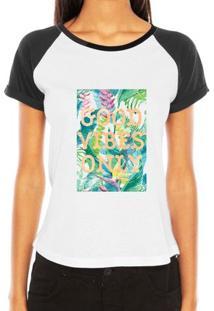 Camiseta Criativa Urbana Raglan Good Vibes Only - Feminino-Branco