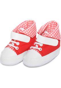Tênis Cano Alto Xadrez Sapatinhos Baby Branca E Vermelha