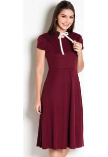 Vestido Bordô Com Laço Moda Evangélica