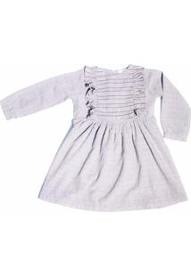 Vestido Manga Longa Infantil Menina Fredie Mon Petit Cinza Cookie