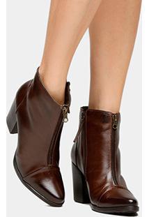 ca196ceb8 Bota Couro Cano Curto Shoestock Midi Ziper Feminino - Feminino-Marrom