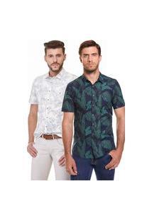 Kit 2 Camisas Zaiko Estampada Manga Curta Branca/Marinho