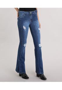 5c2ab7379 Calça Jeans Feminina Flare Sawary Destroyed Com Fenda Na Barra Azul Escuro