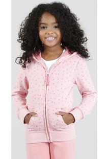 Blusão Infantil Estampado De Poá Com Capuz Em Moletom Rosa Claro