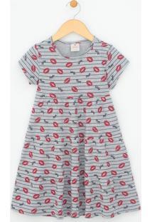 Vestido Infantil Com Estampa Beijos - Tam 5 A 14